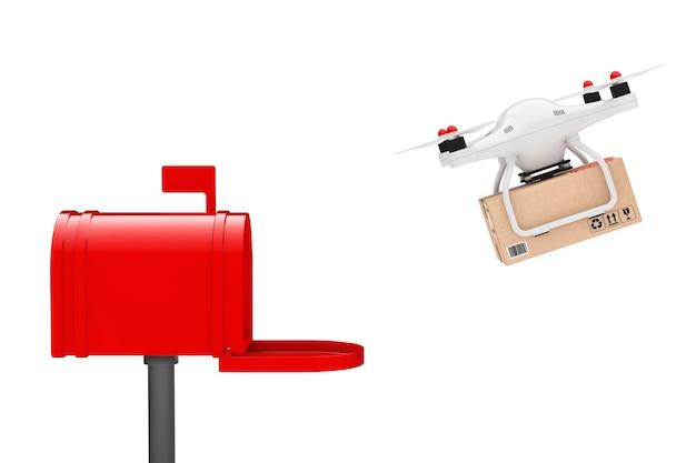 Paketversand-konzept. quadrocopter-drohnen liefern ein paket im briefkasten auf weißem hintergrund. 3d-rendering