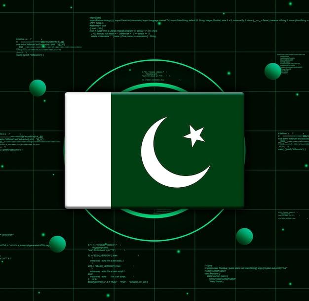 Pakistan flagge mit realistischen technologieelementen, 3d-rendering