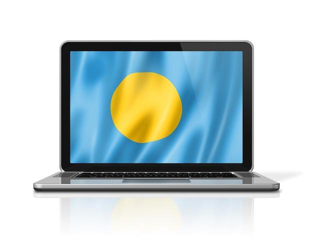 Palau-flag auf laptop-bildschirm isoliert auf weiss. 3d-darstellung rendern.
