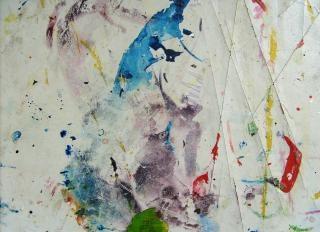Palette mit farbe verschmiert