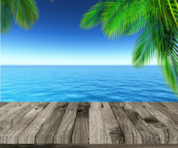 Palmblätter auf dem meer und den hafen