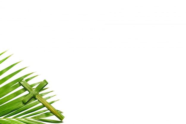 Palmblatt mit christlichem kreuz auf weißem hintergrund