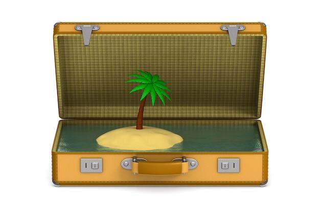Palme auf insel in koffer auf weiß.