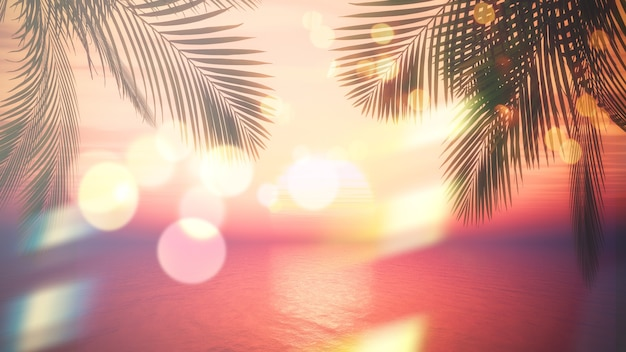 Palme mit bokeh-effekt