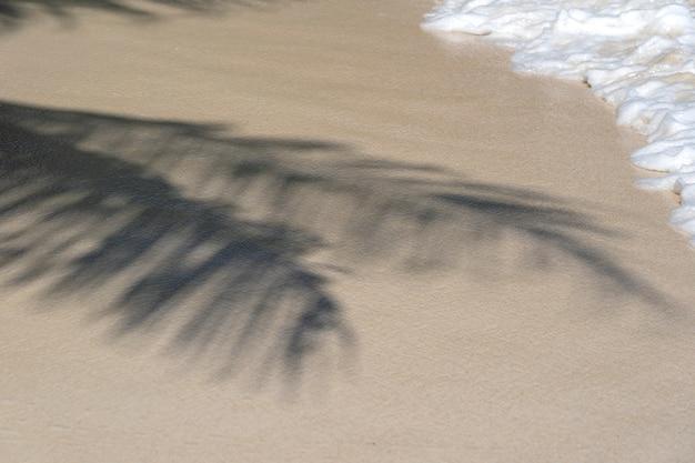 Palme wirft schatten auf den glatten goldenen sand mit weißer meerwasserwelle am tropischen strand, nahaufnahme