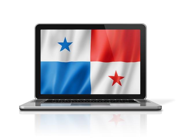 Panama-flag auf laptop-bildschirm isoliert auf weiss. 3d-darstellung rendern.