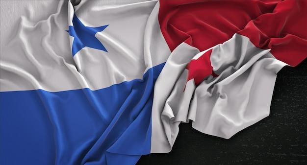 Panama-flagge geknittert auf dunklem hintergrund 3d render