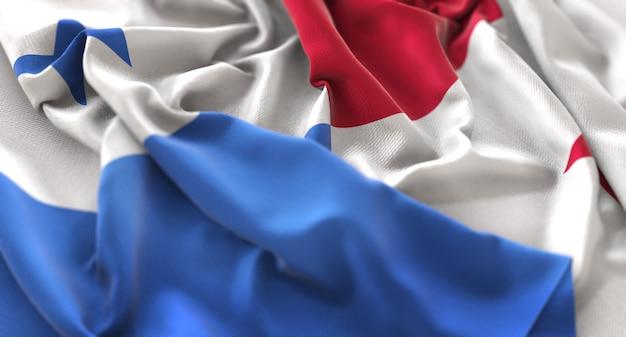 Panama-flagge gekräuselt schön winken makro nahaufnahme schuss