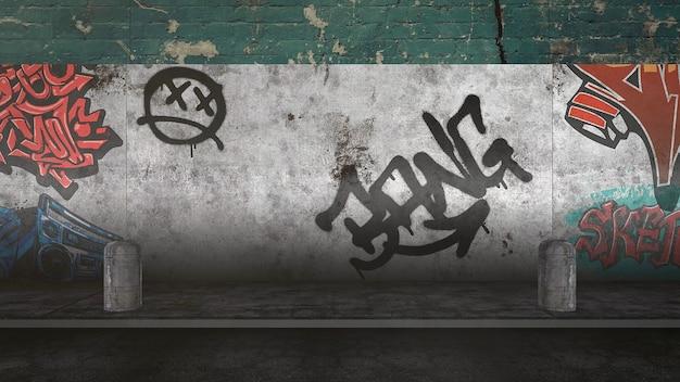 Panorama der grunge-wand des gebäudes auf der straße am sommertag. moderner und luxuriöser 3d-illustrationsstil für hipster- und cyberpunk-grunge-vorlage
