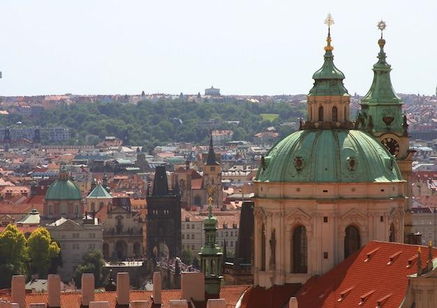 Panorama der karlsbrücke, blick vom schloss, prag, tschechische republik
