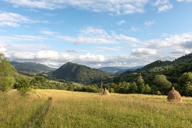 Panorama der karpaten mit bergen, wolken, gras, heuhaufen und einer feldstraße