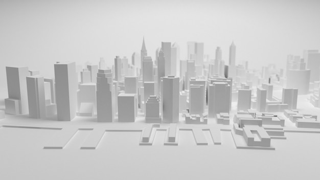 Panorama der stadt 3d getrennt auf weißem hintergrund
