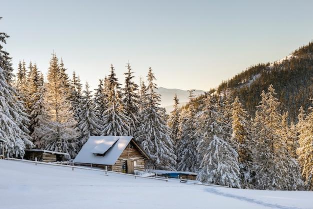 Panorama der winterberge mit häusern der schäfer. karpaten, ukraine, europa. fantastische winterlandschaft. kreative collage. beauty-welt.