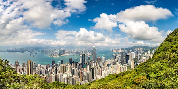 Panorama des geschäftsviertels von hongkong