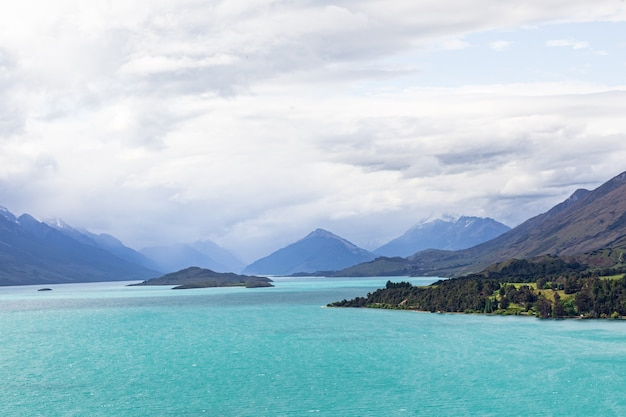 Panorama des sees wakatipu neuseeland