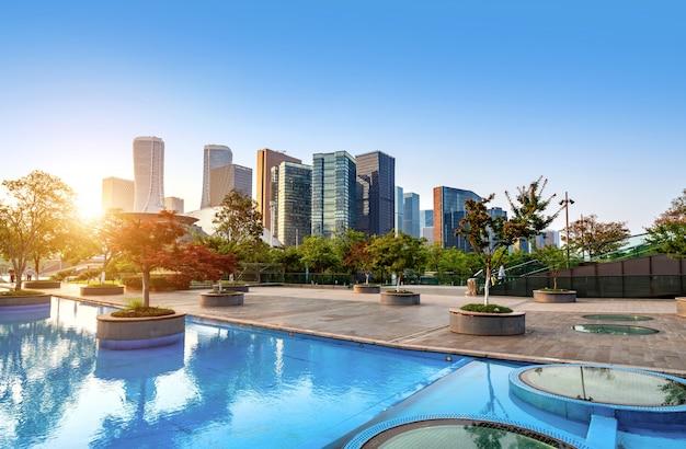Panorama neuer stadt hangzhous qianjiang, china