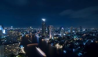 Panoramaansicht von Bangkok-Stadt scape in der Nacht