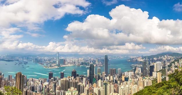 Panoramablick auf das geschäftsviertel von hongkong, china