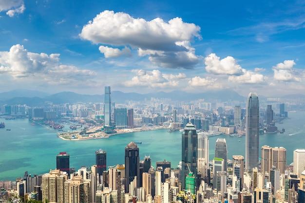 Panoramablick auf das geschäftsviertel von hongkong