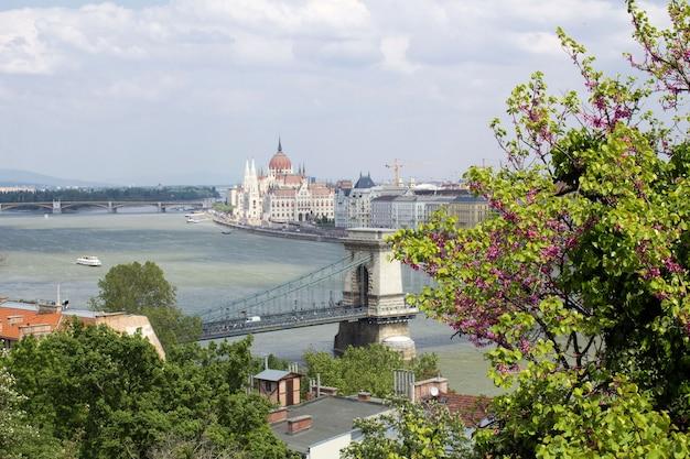Panoramablick auf das parlament, die stadt und den fluss am frühlingstag. budapest. ungarn.