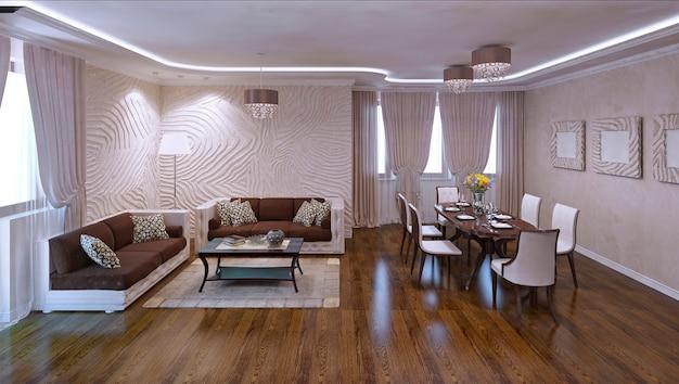 Panoramablick auf das wohnzimmerstudio in modernen apartments. putz strukturierte wände und polierte laminatböden. neonlichter bei tageslicht. 3d-rendering