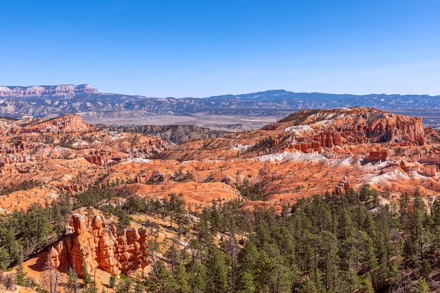 Panoramablick auf erstaunliche hoodoos-sandsteinformationen im malerischen bryce canyon national parkon an einem sonnigen tag. utah, usa