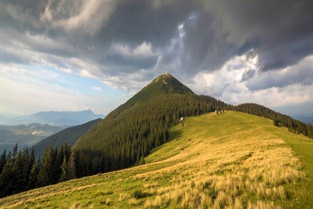 Panoramablick auf grünes grasbewachsenes tal, kiefern und ländliche kleine bauernhütten am fuße des fernen bewaldeten berges unter dunkelblauem bewölktem himmel vor gewitter. schönheit der natur, tourismus, reisen.