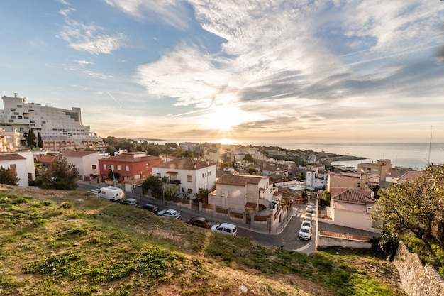 Panoramablick des sonnenaufgangs in tarragona, katalonien, spanien