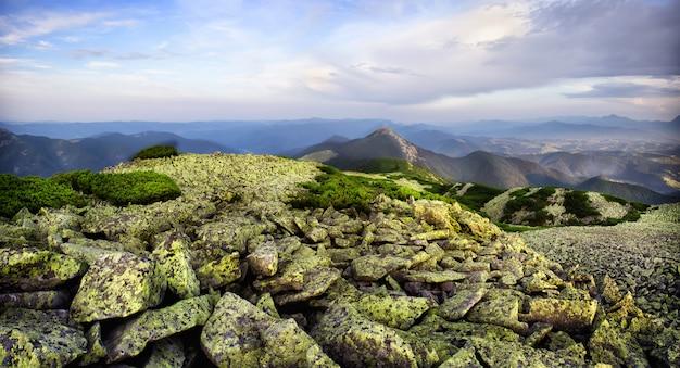 Panoramablick vom hügel mit grünen steinen
