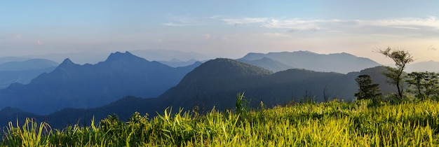Panoramische luftaufnahme vom brummen der hohen gebirgslandschaft