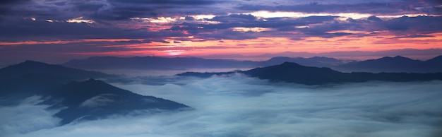 Panoramische szenische ansicht des nebelhaften morgensonnenaufgangs im berg bei nord-thailand