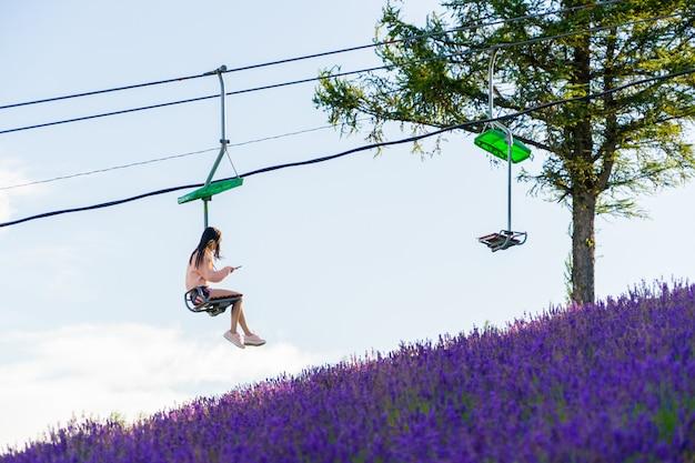 Panoramisches lavendelblumenfeld und blauer himmel in furano, hokkaido, japan.