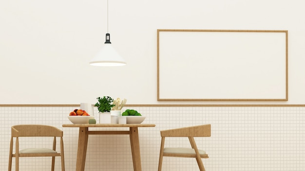 Pantrybereich und speiseraum - wiedergabe 3d