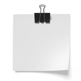 Papier angeheftete binderclips isoliert im 3d-renderbild