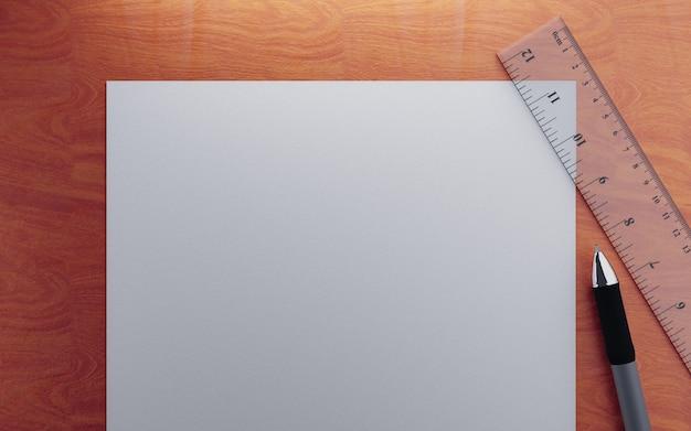 Papier, machthaber und stift auf hölzerner tabelle 3d übertragen