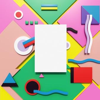 Papier-mock-up mit bunten geometrischen muster Premium Fotos