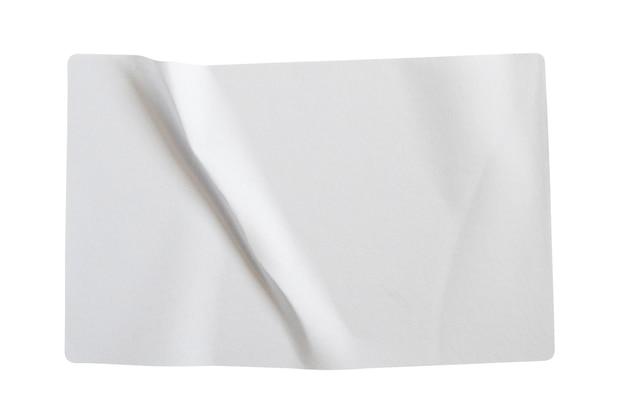 Papieraufkleberetikett lokalisiert auf weißem hintergrund