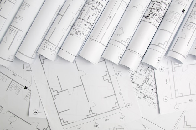 Papierbauzeichnungen und blaupause. technische blaupause