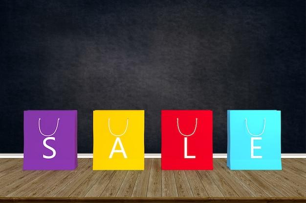Papiereinkaufstüten des verkaufs. auf hölzerner tabelle mit schwarzem bretthintergrund