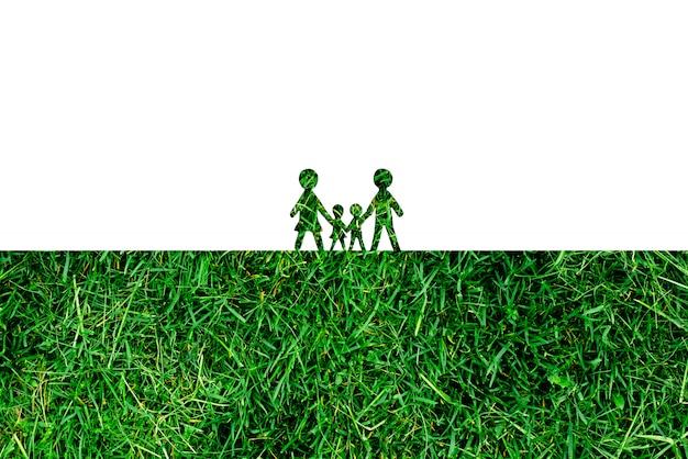 Papierfiguren familie ha gras