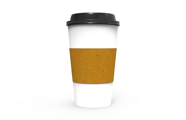 Papierkaffeetasse mit schwarzer kappe