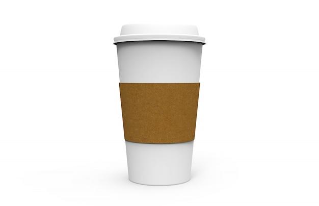 Papierkaffeetasse mit weißer kappe