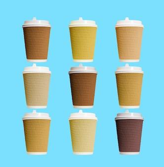 Papierkaffeetassen mit weißer deckelcollage auf blauem hintergrund