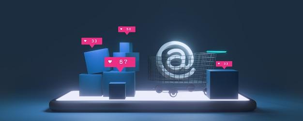 Papierkartons und ein einkaufswagen