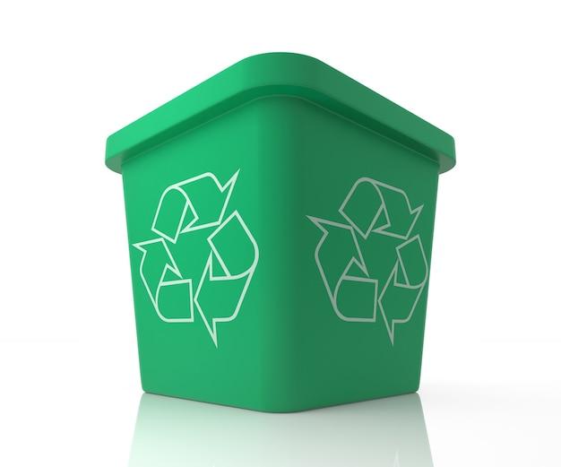 Papierkorb mit recycling-zeichen. 3d-rendering-darstellung isoliert auf weiss.