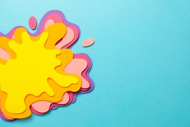 Papierkunst, amorphe form in verschiedenen farben.