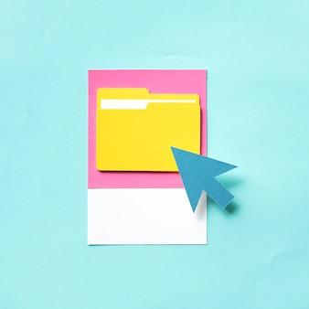 Papierkunst des verschiebens in einen ordner