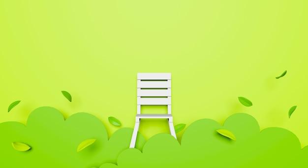 Papierkunst von 3d grünem garten abstrakt mit weißem stuhl.