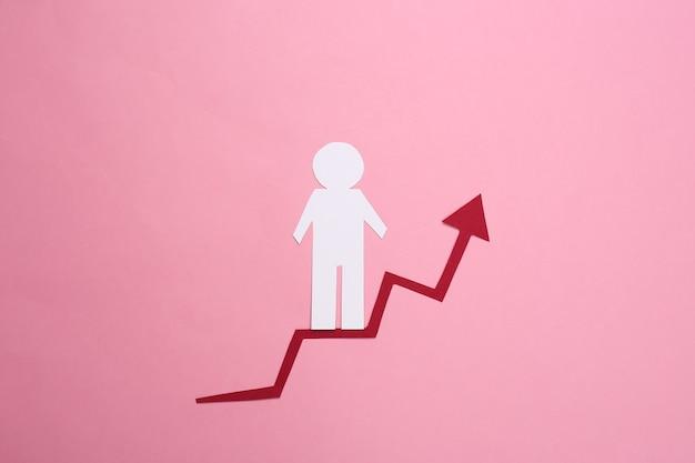 Papiermann auf wachstumspfeil. rosa. symbol des finanziellen und sozialen erfolgs, treppe zum fortschritt. karriereleiter.