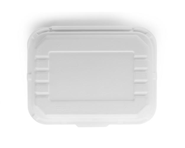Papiernahrungsmittelbox auf weißem hintergrund.